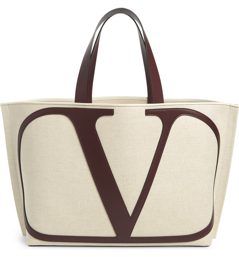 VALENTINO GARAVANI Large Escape V-Logo Tote, Main, color, NATURALE/ RUBIN
