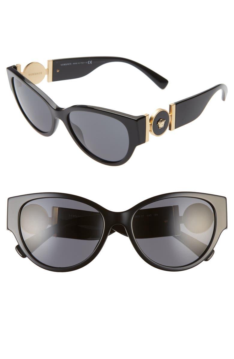 VERSACE 56mm Cat Eye Sunglasses, Main, color, BLACK/ BLACK SOLID