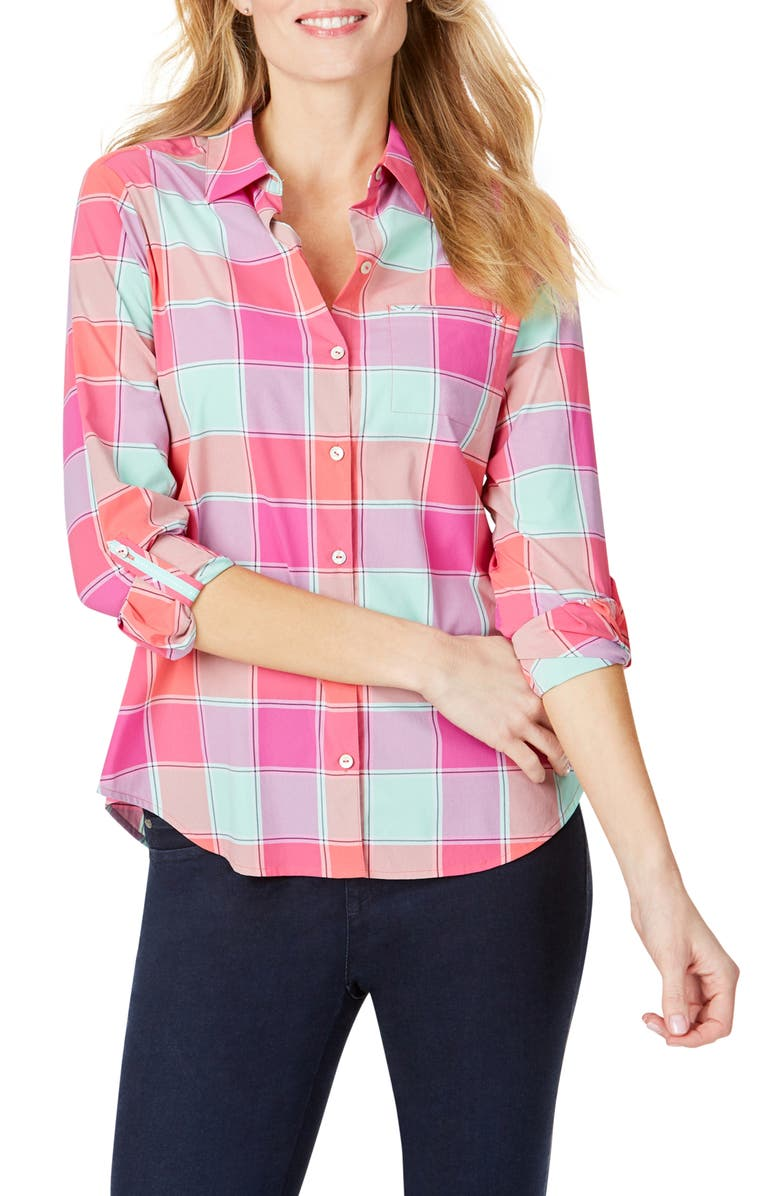FOXCROFT Reese Check UPF Wrinkle Free Shirt, Main, color, MULTI