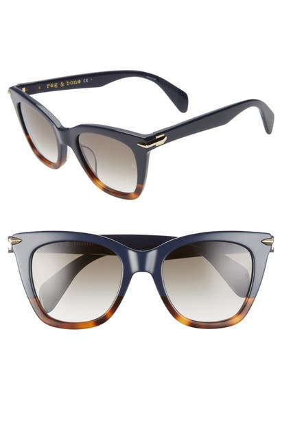 Rag & Bone Sunglasses 52MM SUNGLASSES - BLUE HAVANA/ GREY BLUE