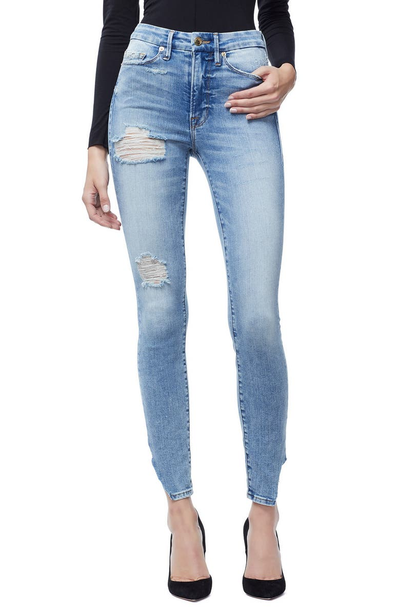 GOOD AMERICAN Good Waist Side Triangle Crop Skinny Jeans, Main, color, BLUE 160