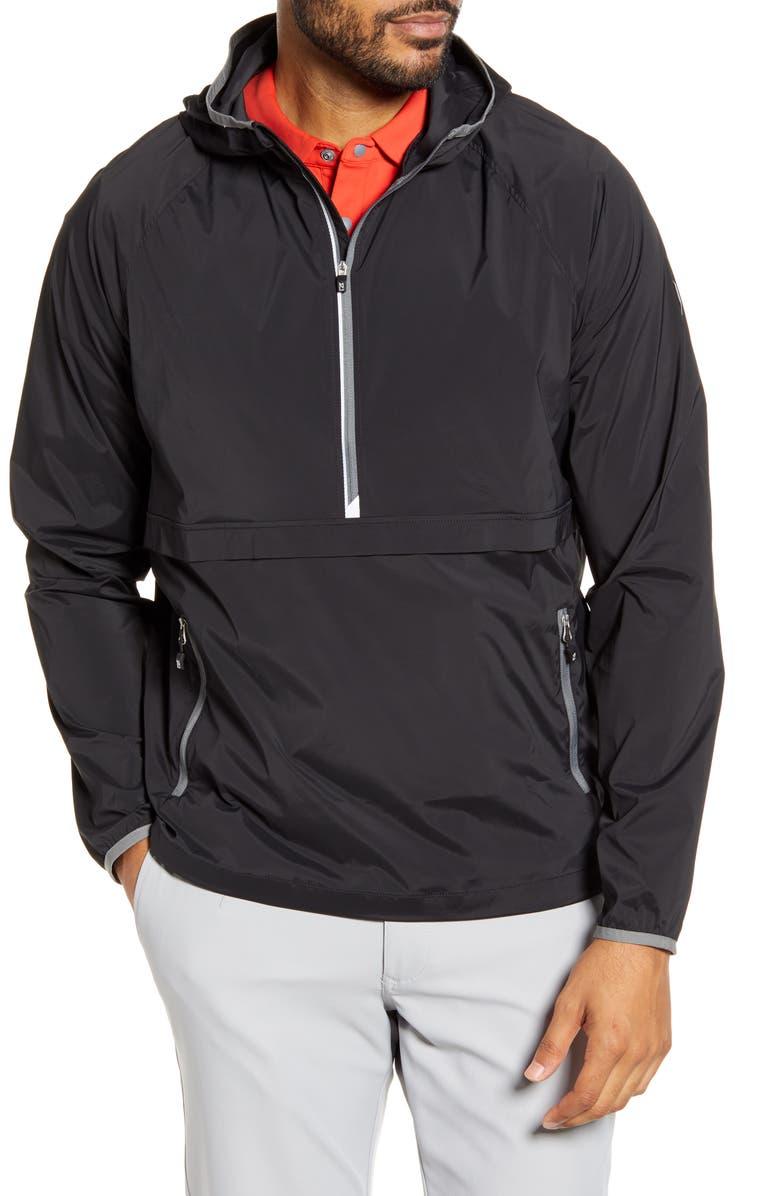 CUTTER & BUCK Breaker WeatherTec Half Zip Hooded Pullover, Main, color, BLACK