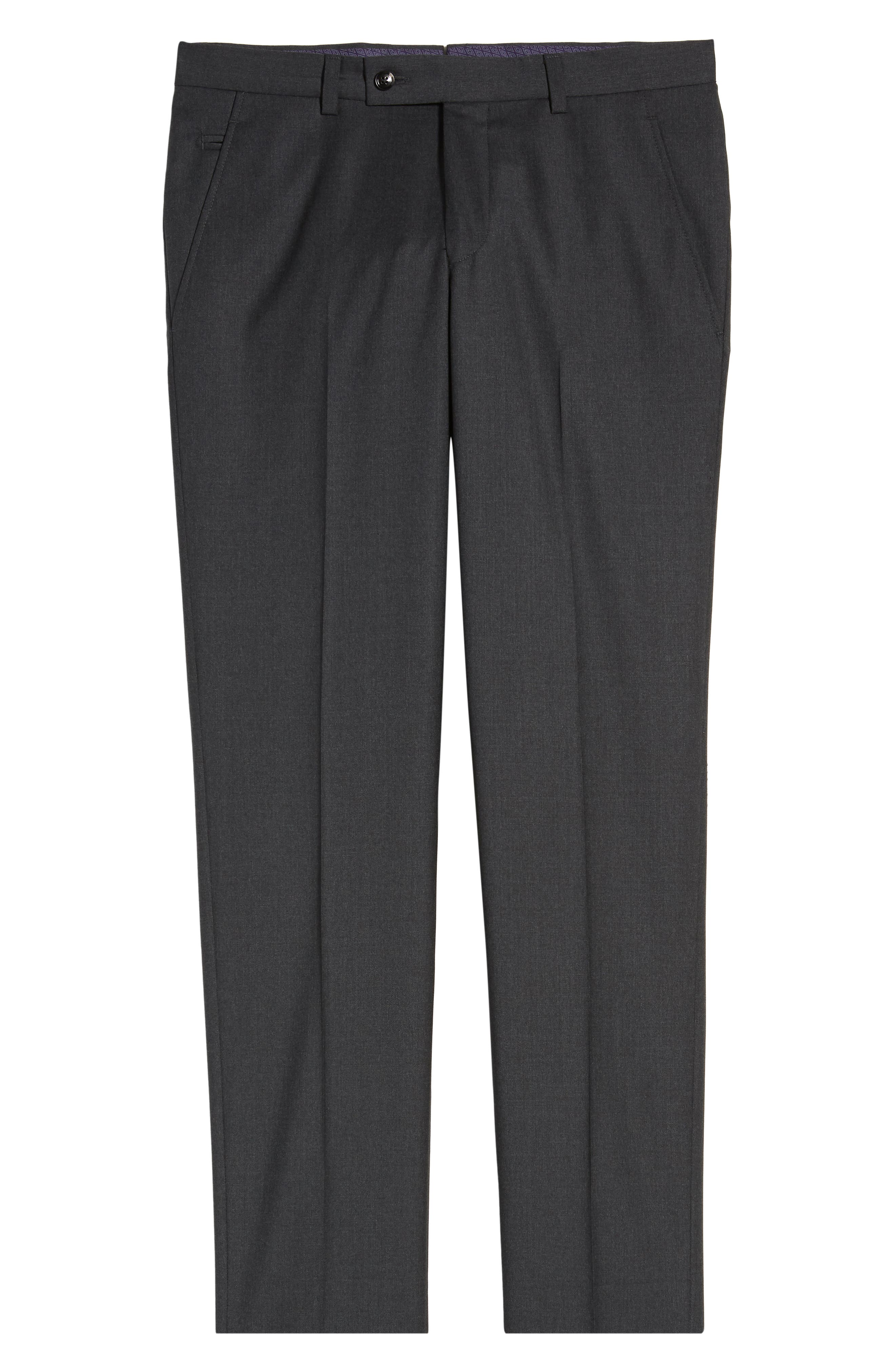 ,                             Jerome Flat Front Solid Wool Trousers,                             Alternate thumbnail 7, color,                             CHARCOAL