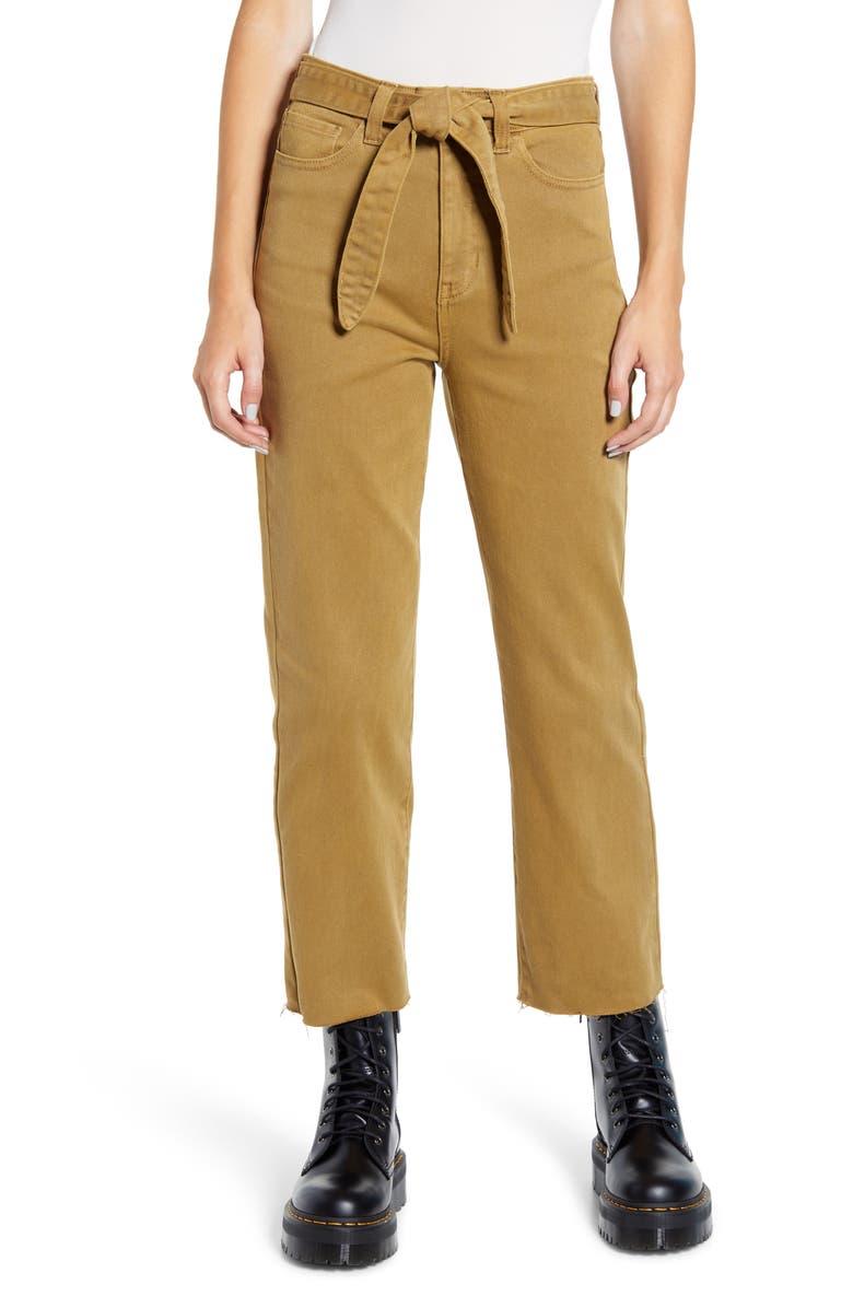 PROSPERITY DENIM Belted Crop Straight Leg Jeans, Main, color, KELP