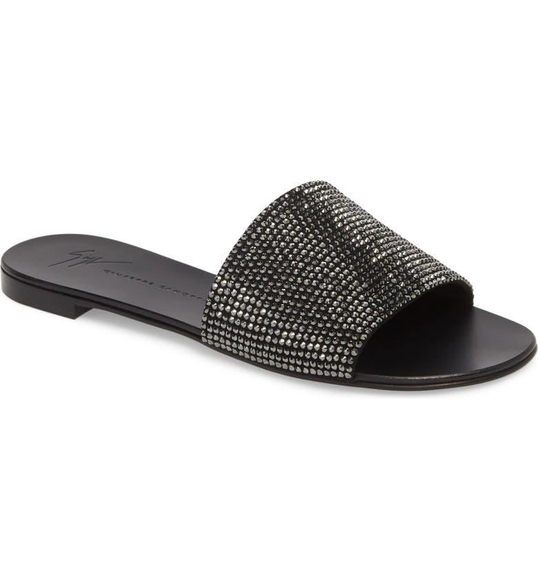 GIUSEPPE ZANOTTI Crystal Embellished Slide Sandal, Main, color, 001