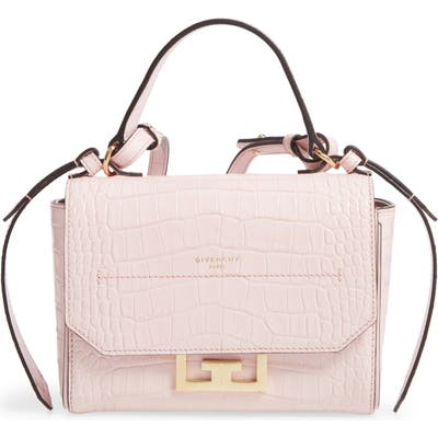 Givenchy Mini Eden Croc Embossed Calfskin Top Handle Bag - Pink