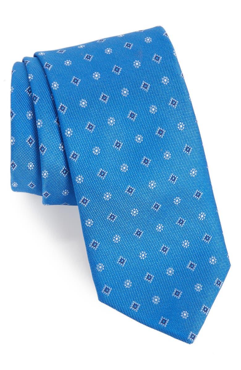 DAVID DONAHUE Medallion Silk X-Long Tie, Main, color, NAVY