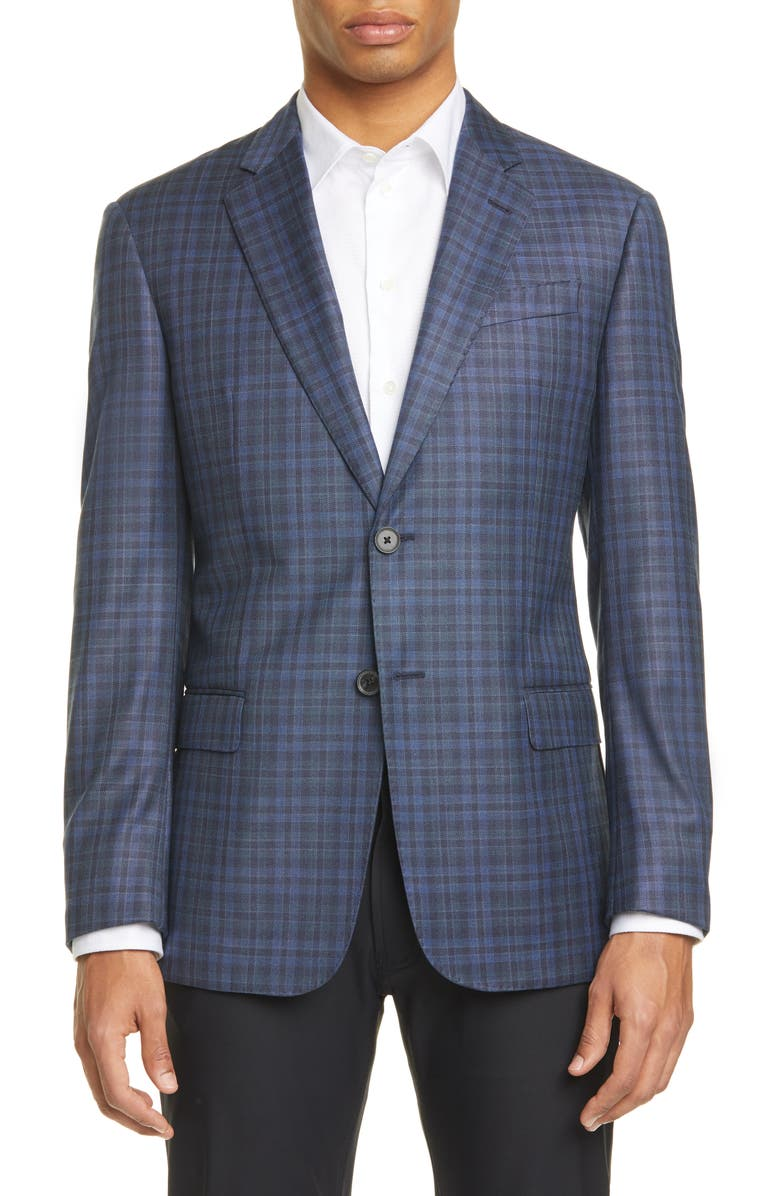 EMPORIO ARMANI G Line Trim Fit Check Wool Sport Coat, Main, color, BLUE