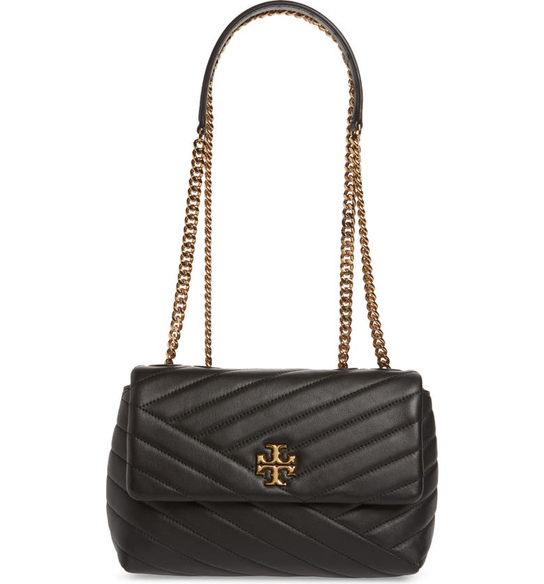 TORY BURCH Kira Chevron Quilted Small Convertible Leather Crossbody Bag, Main, color, BLACK