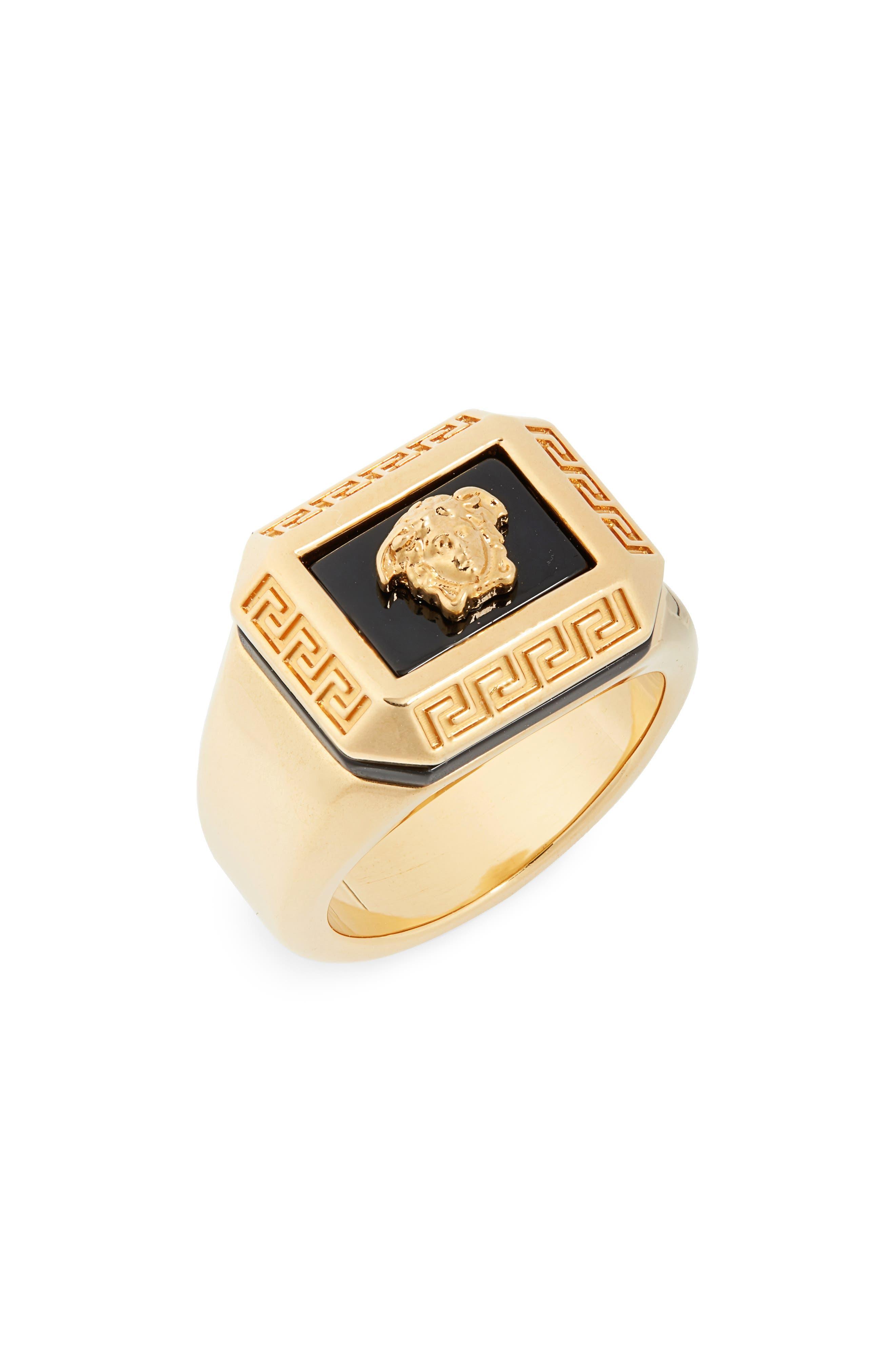 Medusa Signet Ring, Main, color, BLACK TRIBUTE GOLD