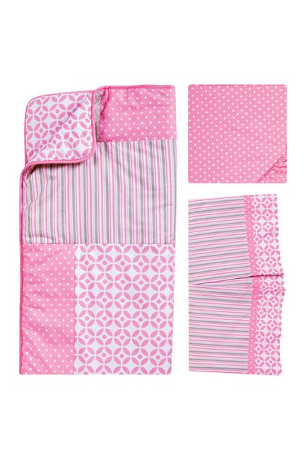 Image of Trend Lab Lily Patchwork Crib 3-Piece Bedding Set - Pink