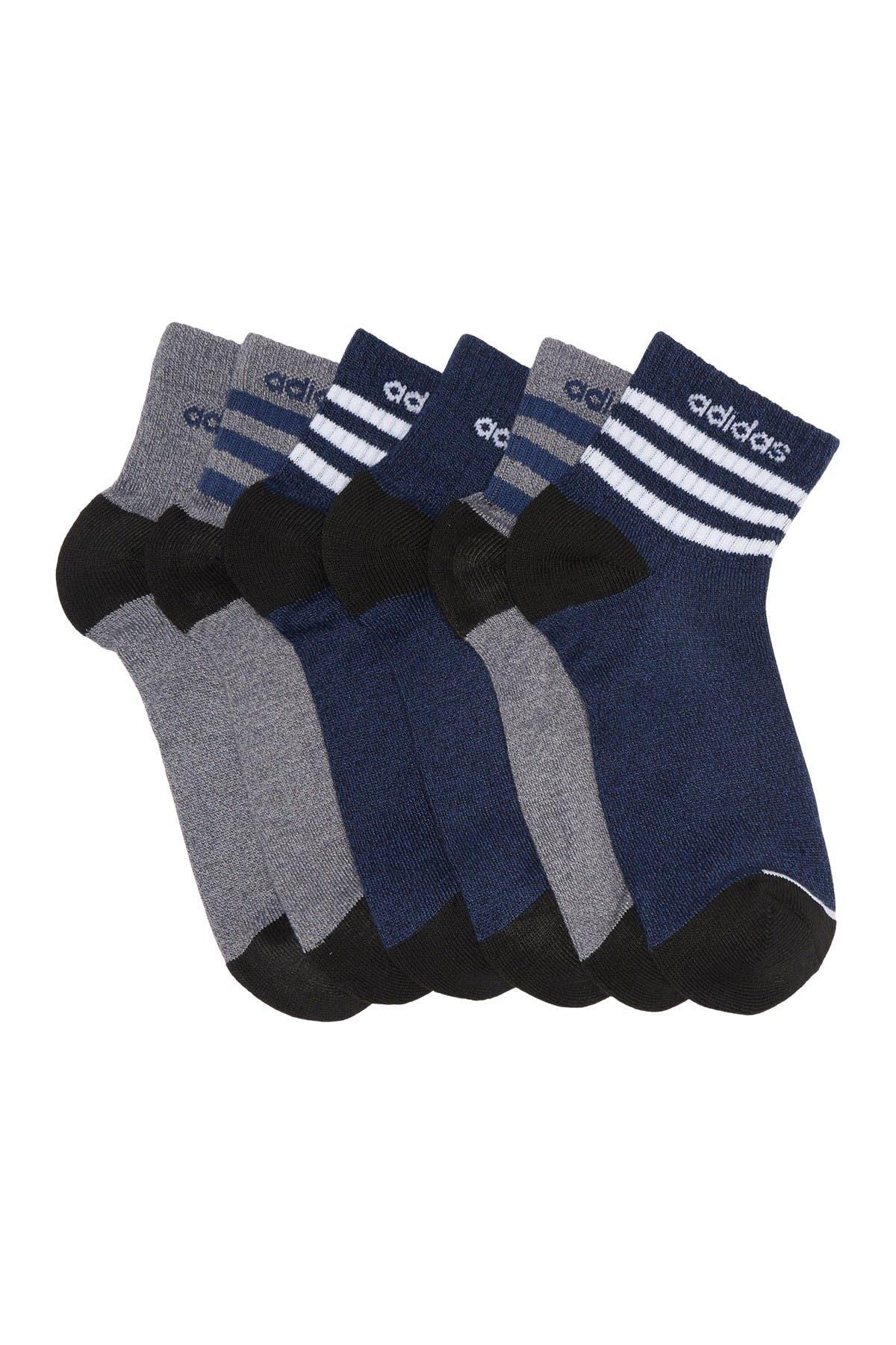 Image of adidas 3-Stripes Quarter Crew Socks - Pack of 6