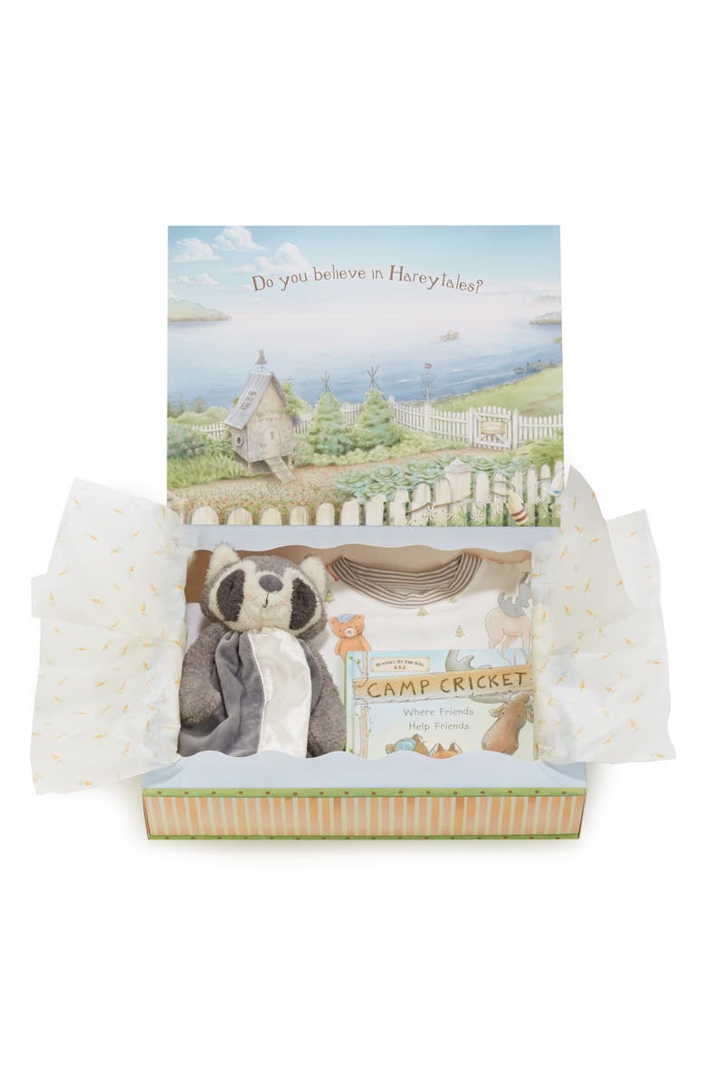 BUNNIES BY THE BAY Roxy Sleepy Time Fitted Two-Piece Pajamas, Animal Buddy Blanket & Book Set, Main, color, GREY
