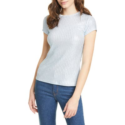 Ted Baker London Catrino Metallic Stripe Fitted Tee, (fits like 0-2 US) - Blue