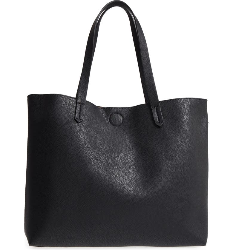 BP. Contrast Lining Faux Leather Tote, Main, color, 003