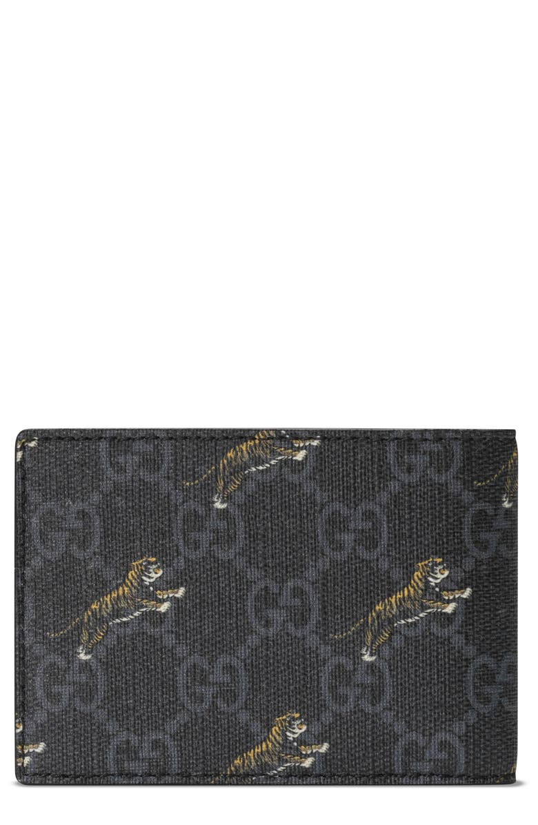GUCCI Tiger Print Bifold Wallet, Main, color, BLACK MULTI/BLACK