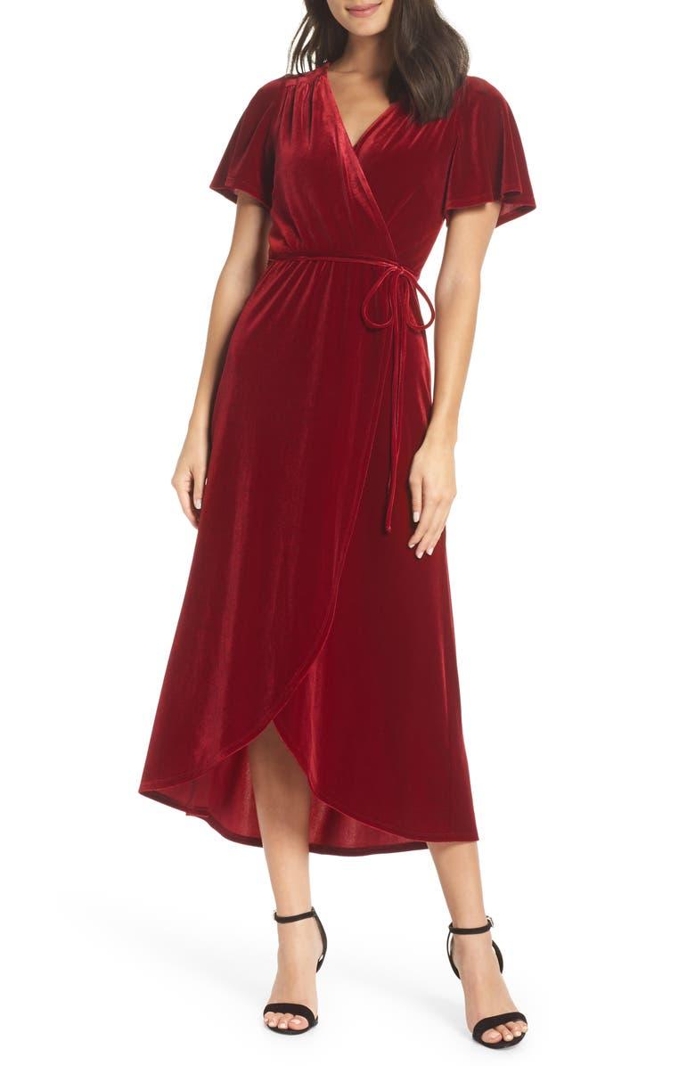 CHELSEA28 Velvet Faux Wrap Midi Dress, Main, color, RED TIBETAN