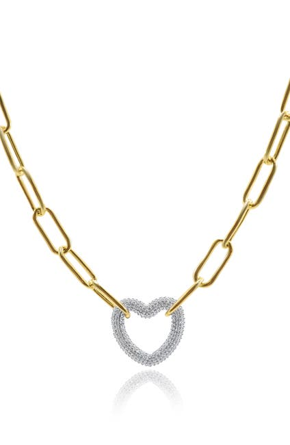 Image of CZ By Kenneth Jay Lane Pave Mid Size Heart Chain Link Necklace