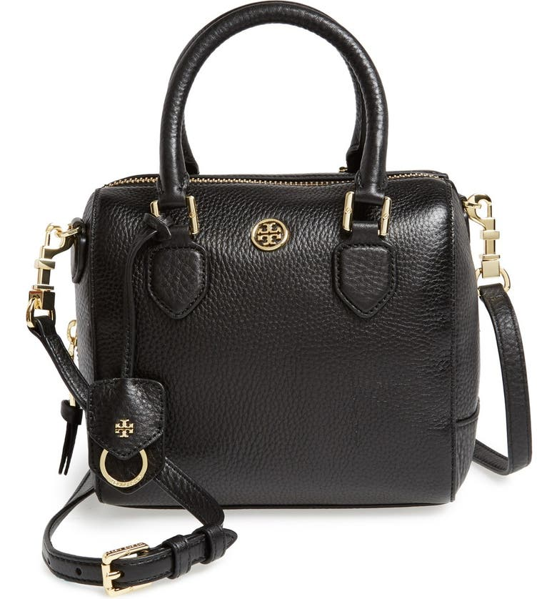 TORY BURCH 'Mini Robinson' Leather Satchel, Main, color, 001