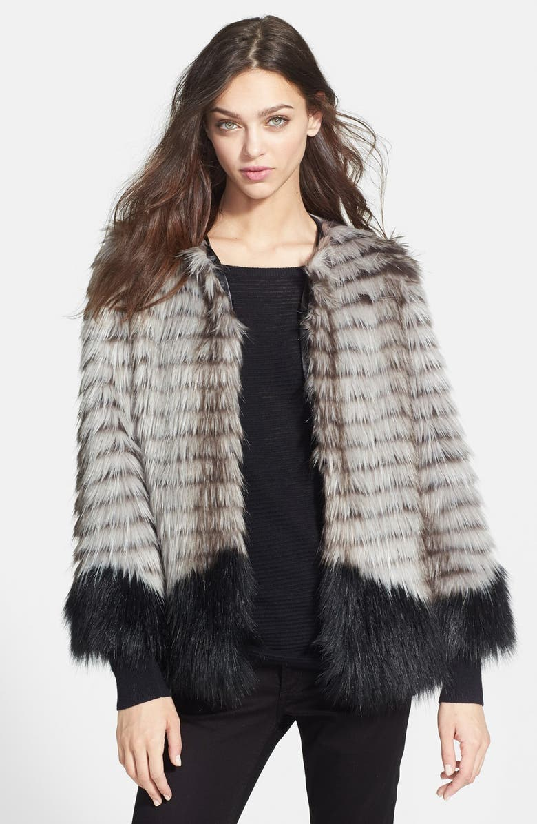BEBE Mixed Faux Fur Jacket, Main, color, 021