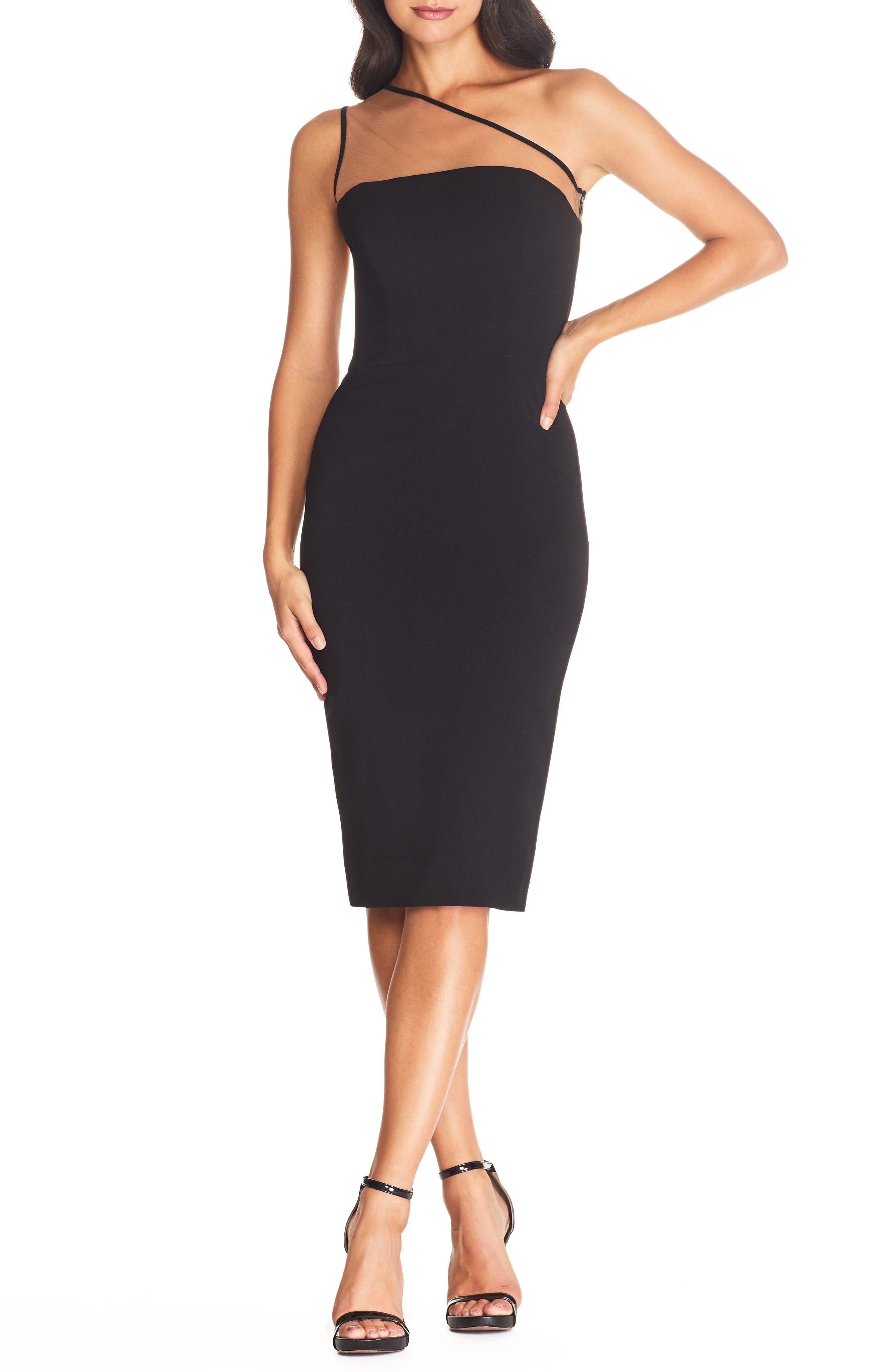 Dress the Population Rayna Illusion One-Shoulder Cocktail Dress | Nordstrom