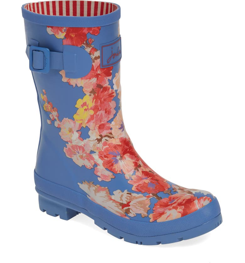 JOULES 'Molly' Rain Boot, Main, color, BLUE FLORAL