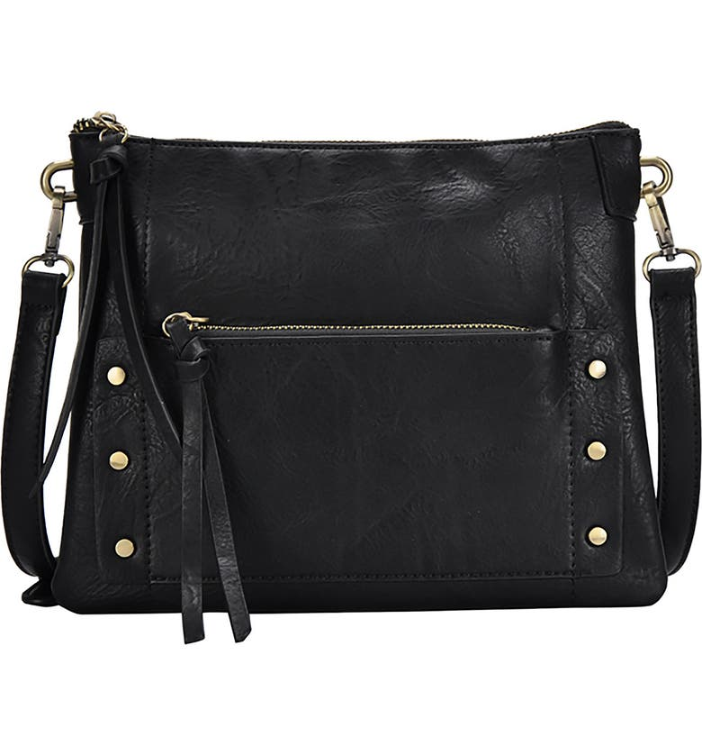 ANTIK KRAFT Studded Faux Leather Crossbody Bag, Main, color, 001