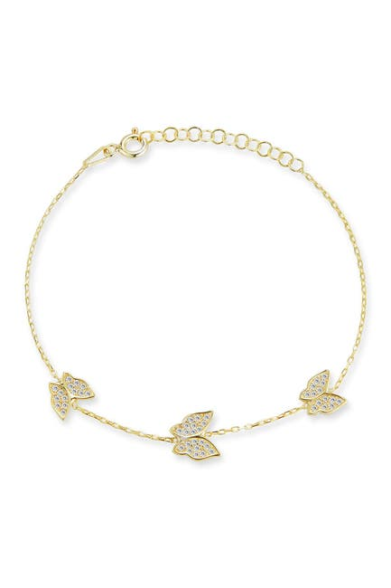 Image of Sphera Milano 14K Gold Plated Sterling Silver CZ Butterfly Bracelet