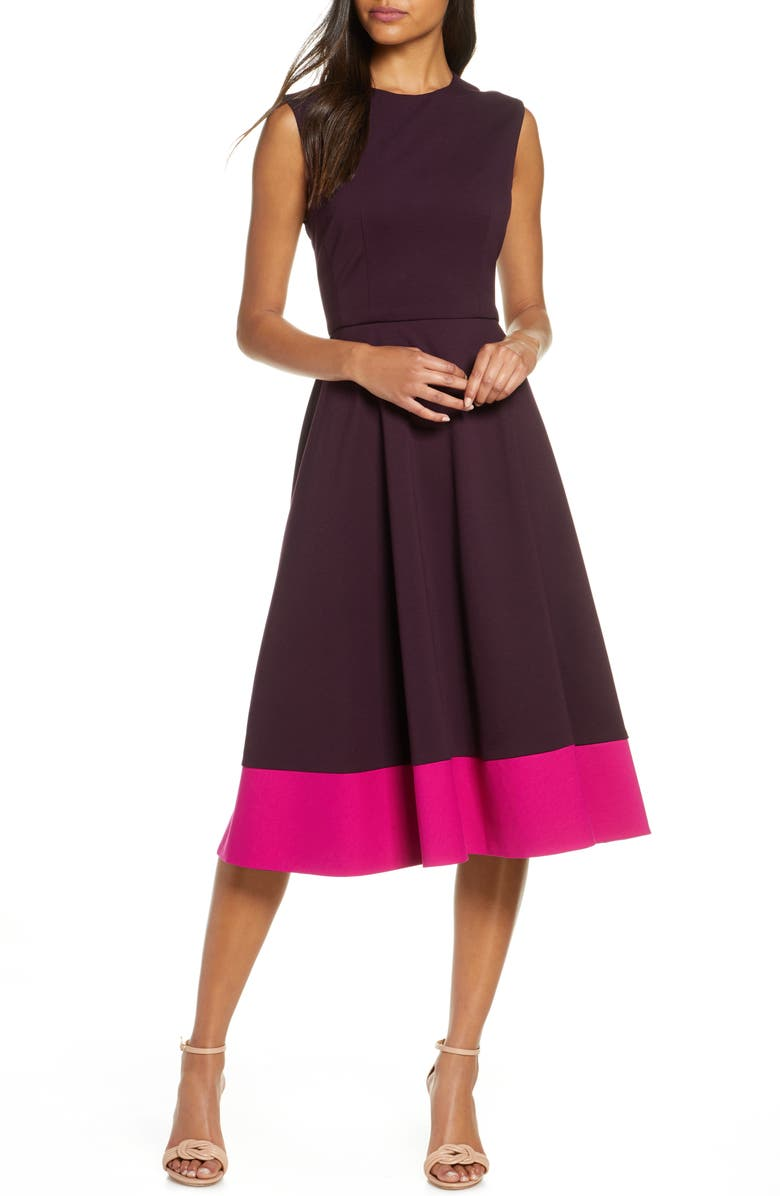 ELIZA J Contrast Hem Sleeveless Midi Dress, Main, color, MAROON