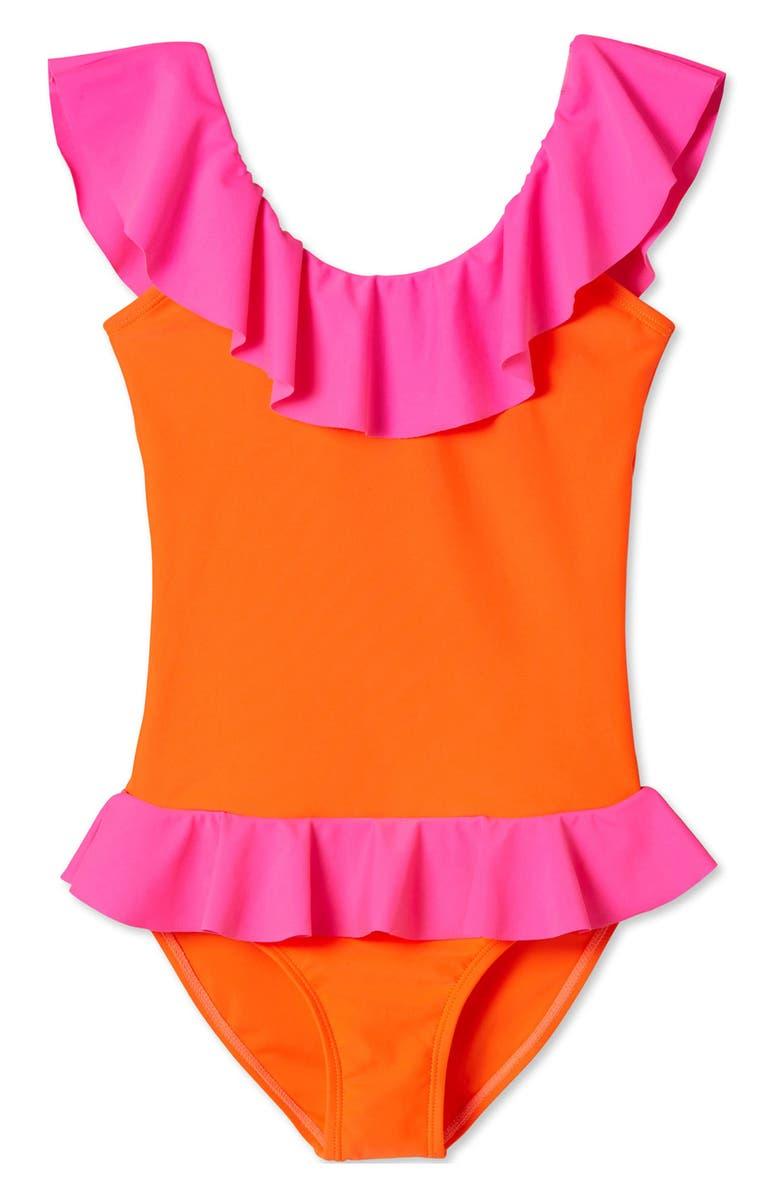 STELLA COVE Pink & Orange Ruffle One-Piece Swimsuit, Main, color, MULTICOLOR