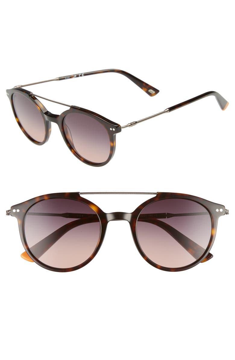 WEB 50mm Round Aviator Sunglasses, Main, color, HAVANA/ GRADIENT SMOKE