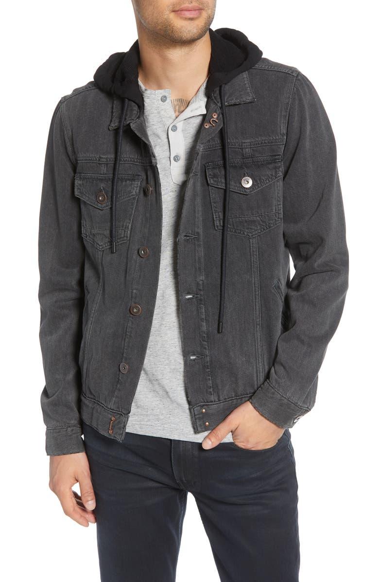 PAIGE Hooded Denim Scout Jacket, Main, color, VINTAGE BLACK HAZE