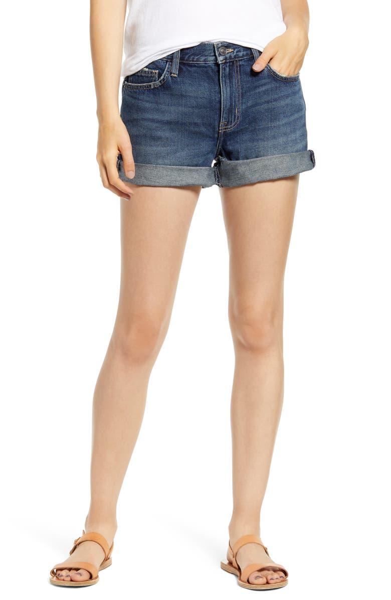 CURRENT/ELLIOTT The Boyfriend Roll Cuff Denim Shorts, Main, color, 400