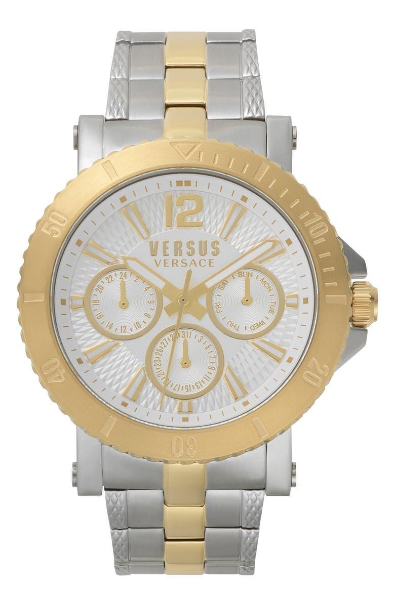 VERSUS VERSACE VERSUS by Versace Steenberg Multifunction Bracelet Watch, 45mm, Main, color, SILVER/ GOLD