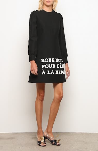 Print Long Sleeve Crepe Cady Dress, video thumbnail