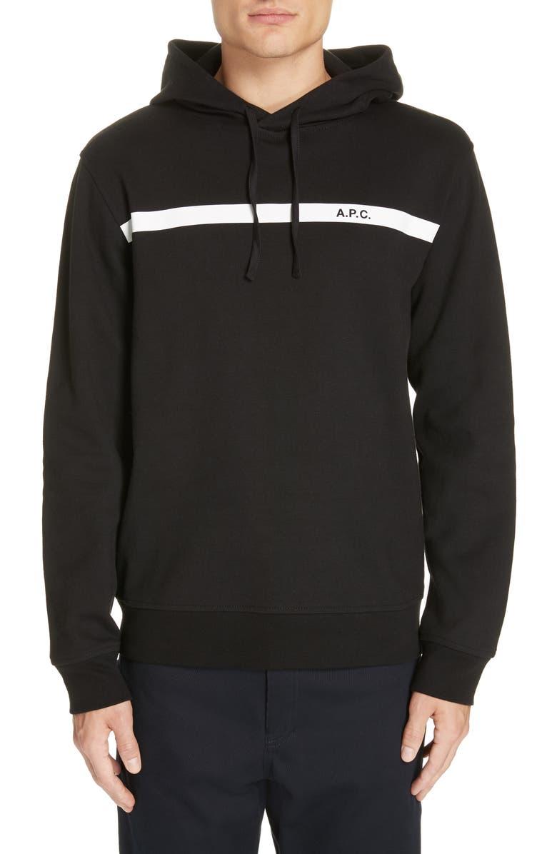 A.P.C. Logo Stripe Hooded Sweatshirt, Main, color, 001