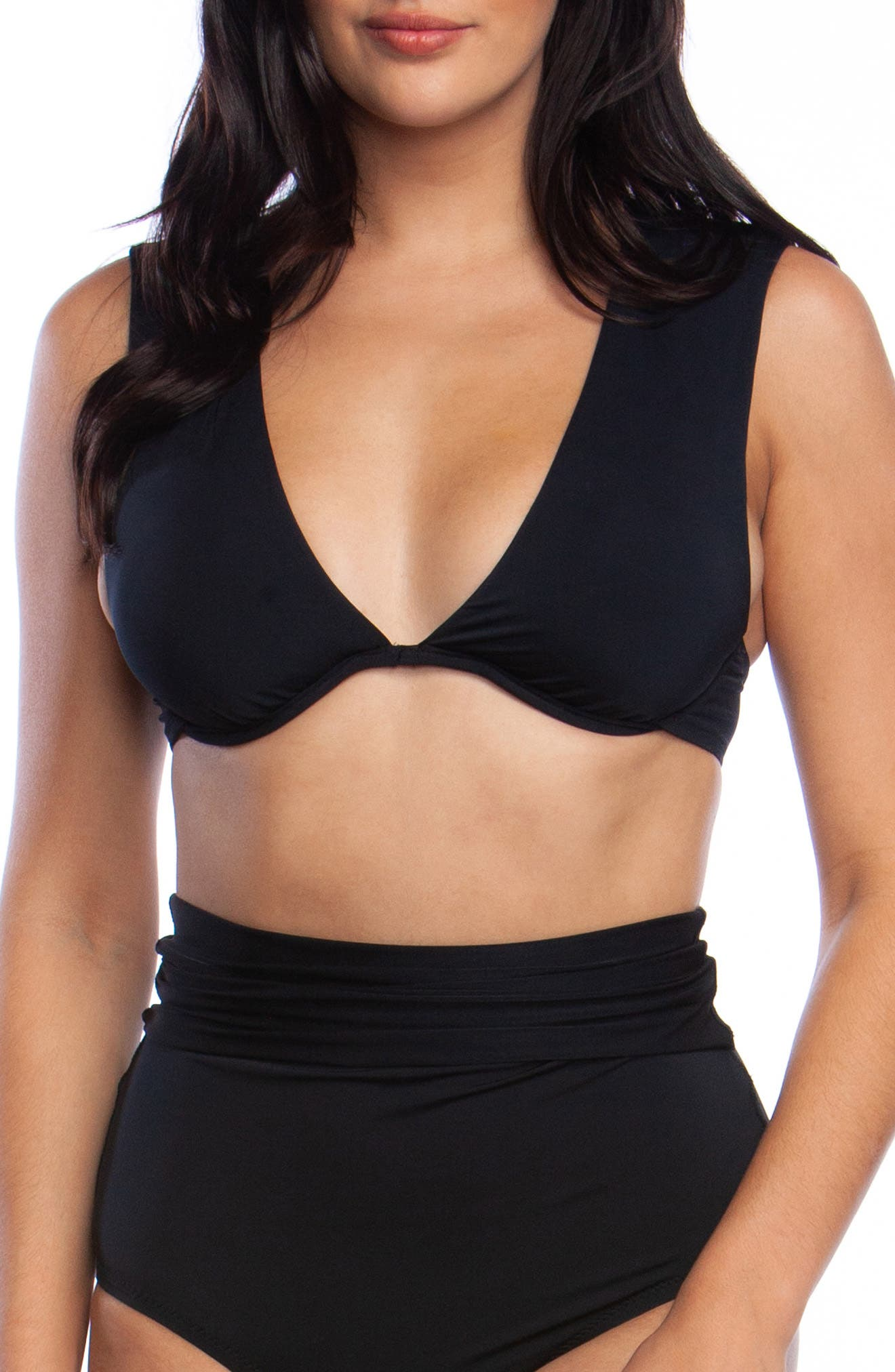 ,                             Underwire Bikini Top,                             Main thumbnail 1, color,                             BLACK