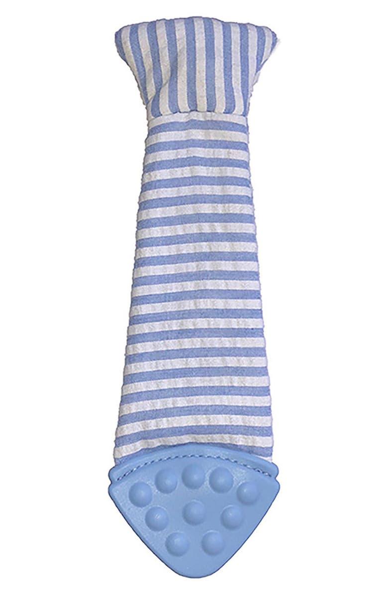TASTY TIE Seersucker Stripe Wearable Baby Teething Tie, Main, color, BLUE/ WHITE