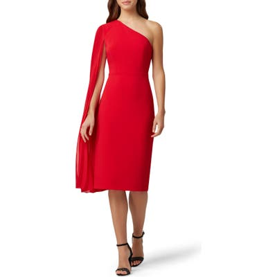 Tahari One-Shoulder Sash Crepe Dress, Red