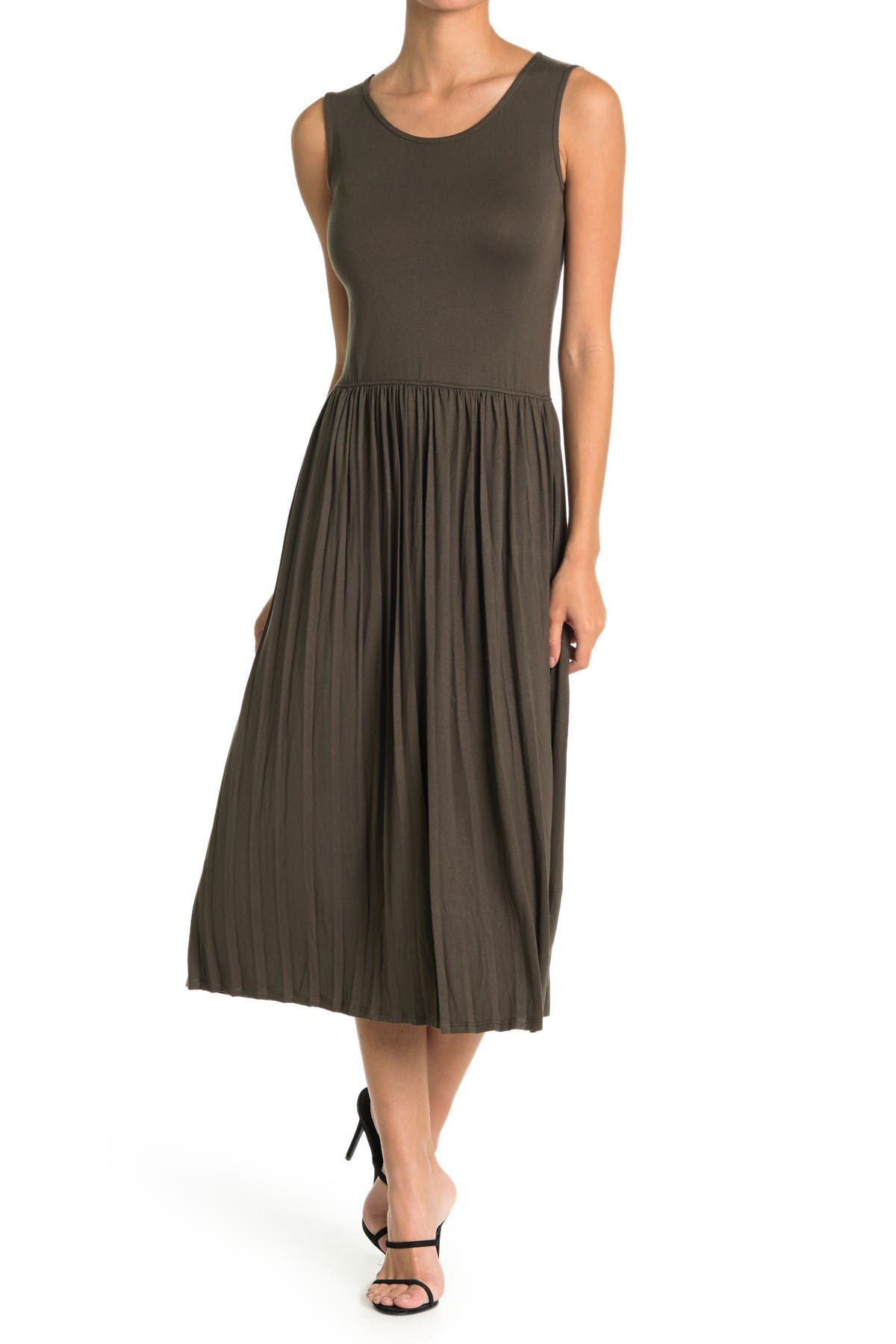 Image of Velvet Torch Pleated Sleeveless Dress