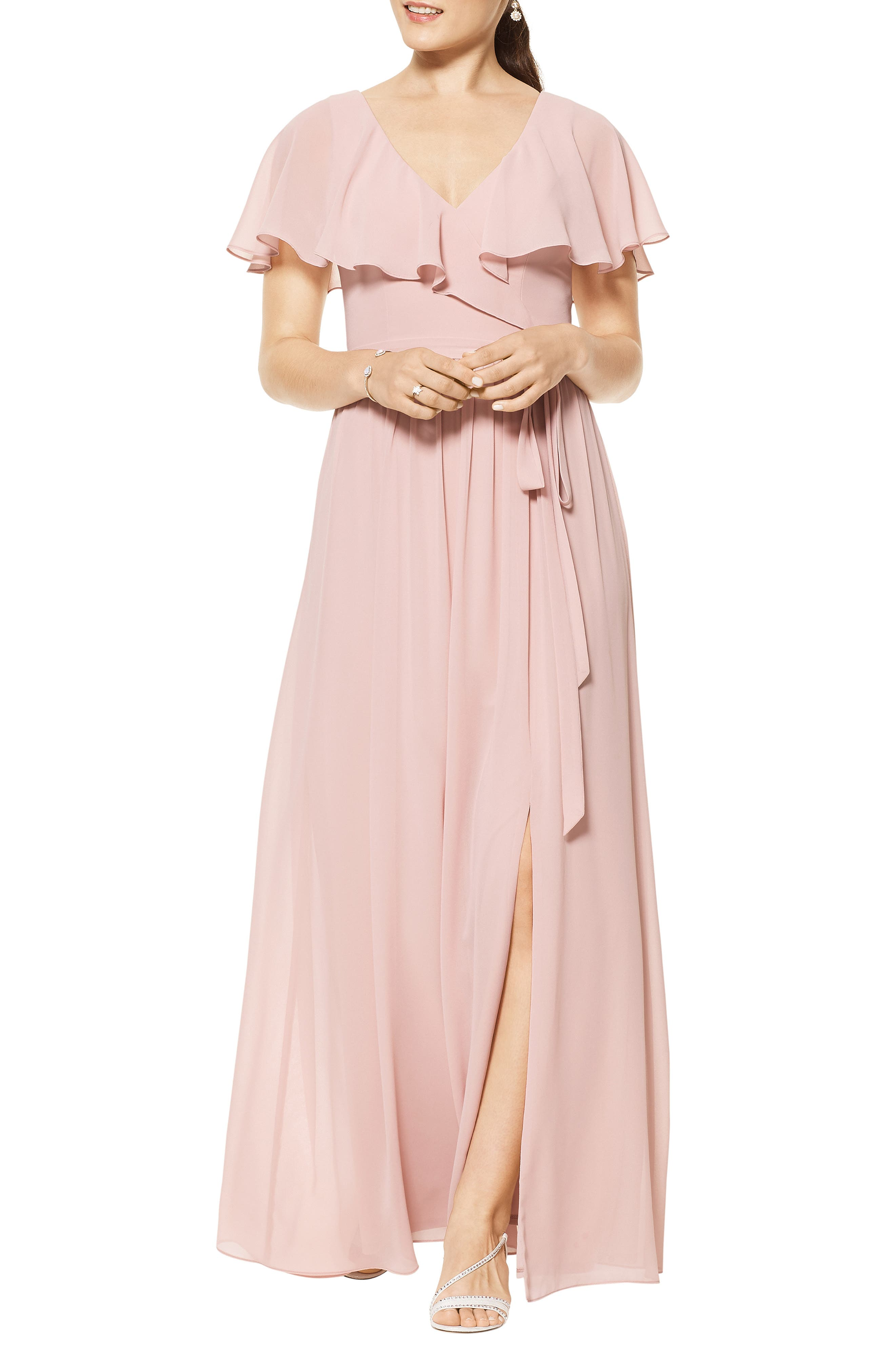 Flutter Overlay Chiffon A-Line Gown