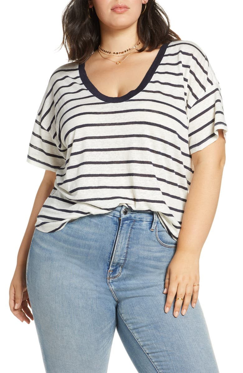 TREASURE & BOND U-Neck Linen Tee, Main, color, NAVY ECLIPSE STRIPE