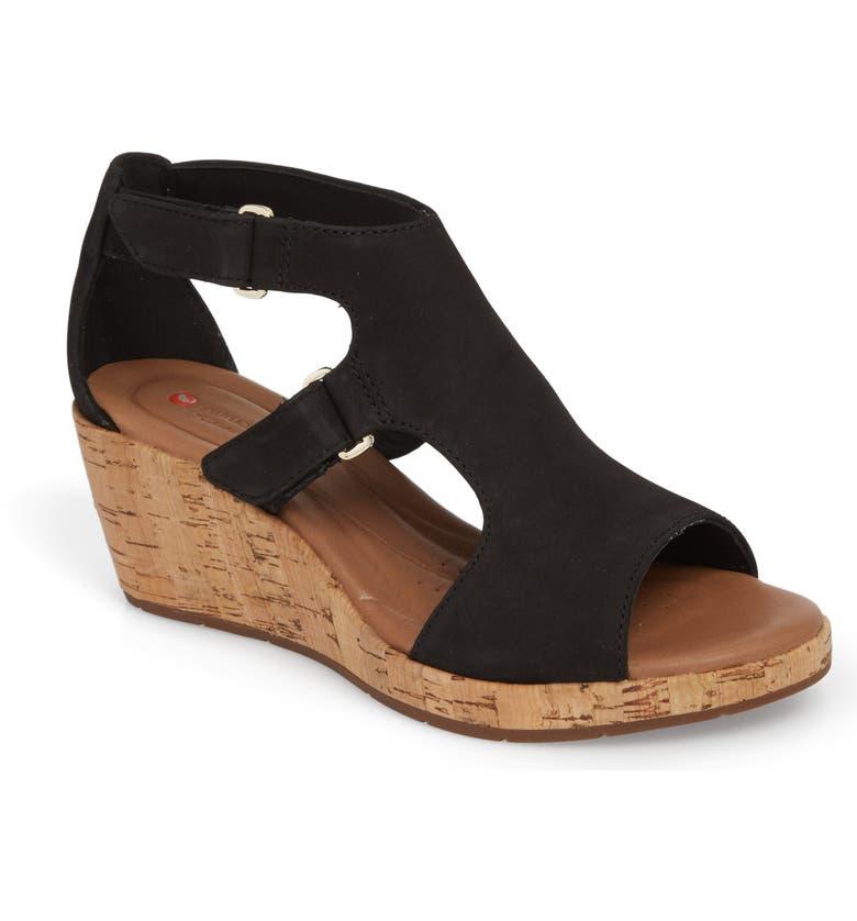 CLARKS<SUP>®</SUP> Un Plaza Wedge Sandal, Main, color, 002