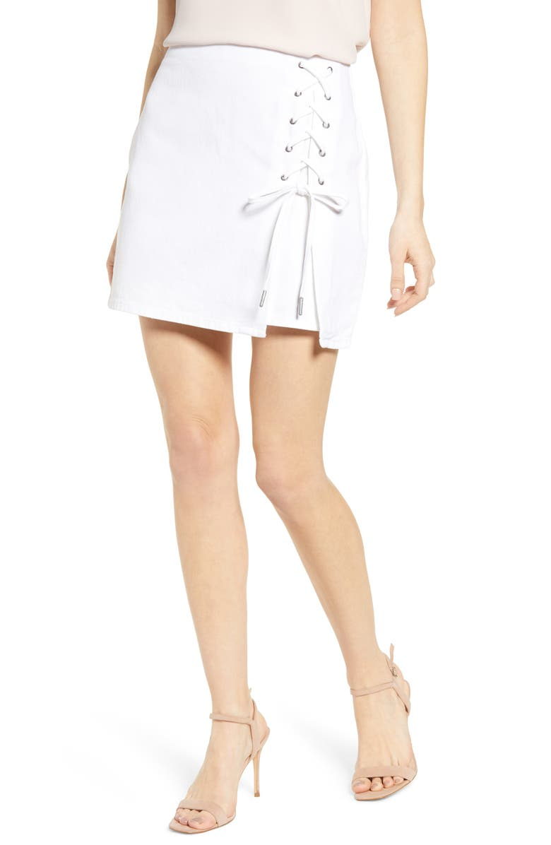 CUPCAKES AND CASHMERE Lace-Up Denim Skirt, Main, color, WHITE
