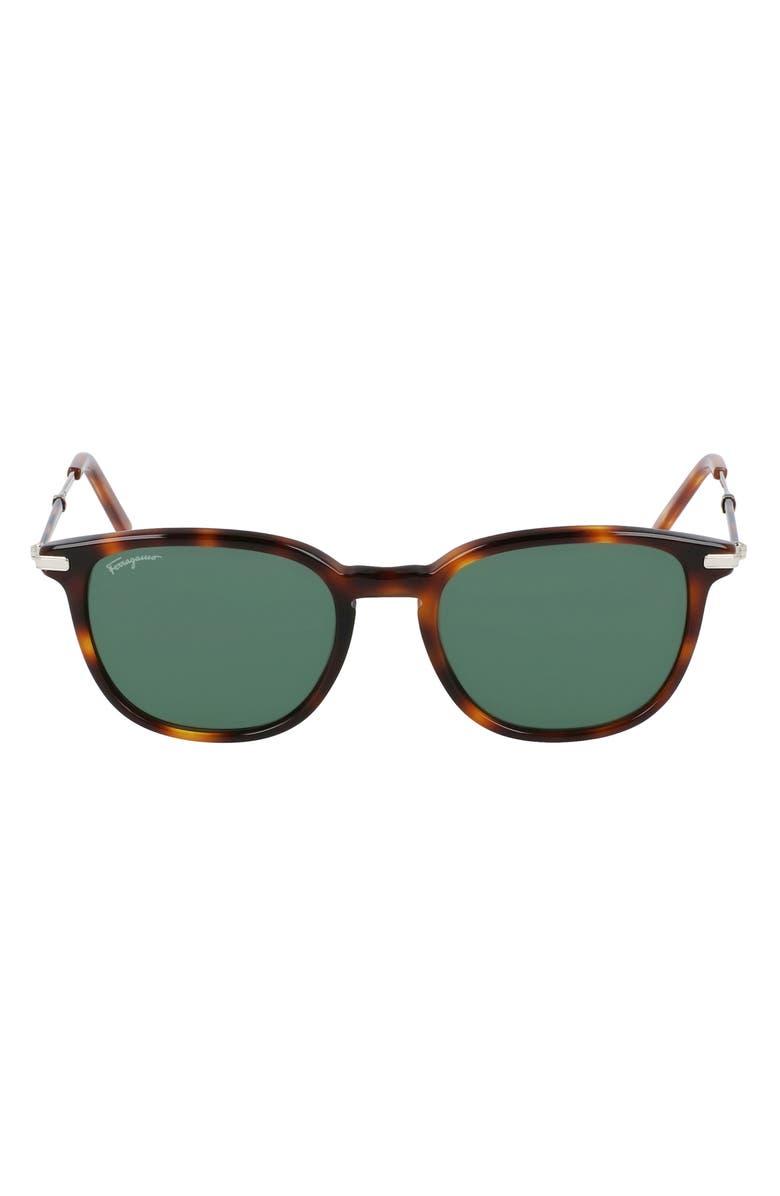 SALVATORE FERRAGAMO 52mm Round Sunglasses, Main, color, TORTOISE/ GREEN