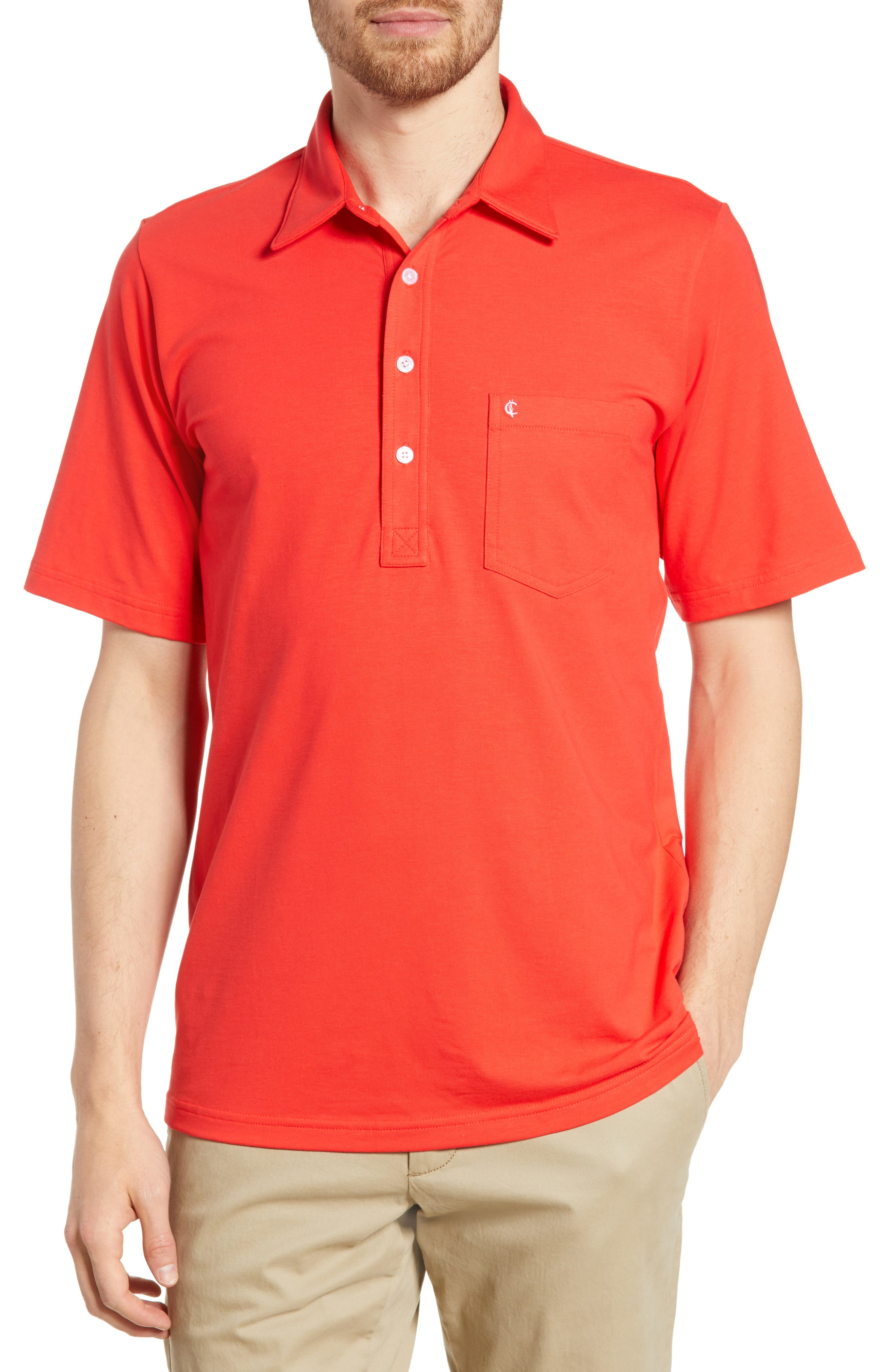 Criquet Players Stretch Jersey Polo, Red
