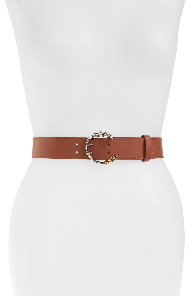 CHLOÉ Callie C Buckle Leather Belt, Main, color, SUNSET BROWN