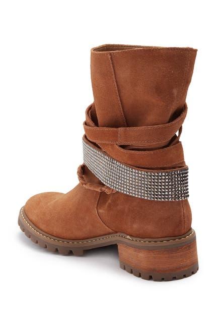 Image of Schutz Kiara Suede Strappy Buckle Boot