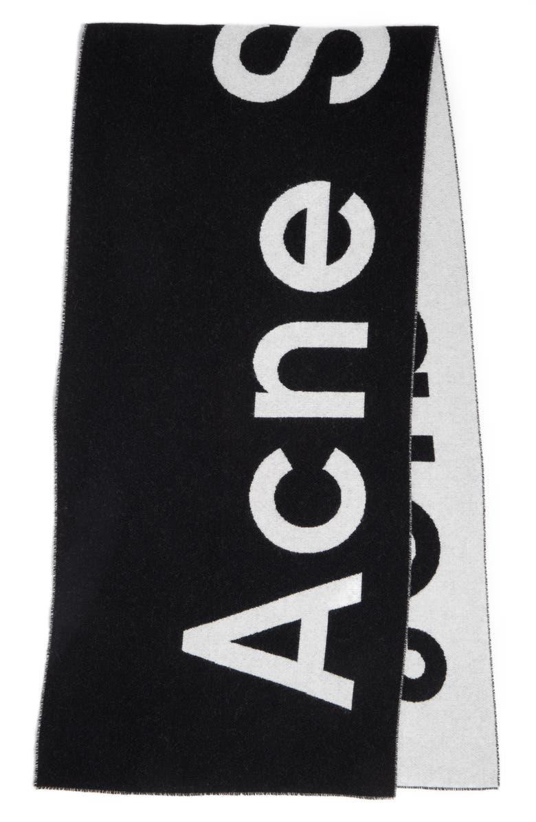 ACNE STUDIOS Toronty Logo Jacquard Wool Blend Scarf, Main, color, BLACK/ WHITE