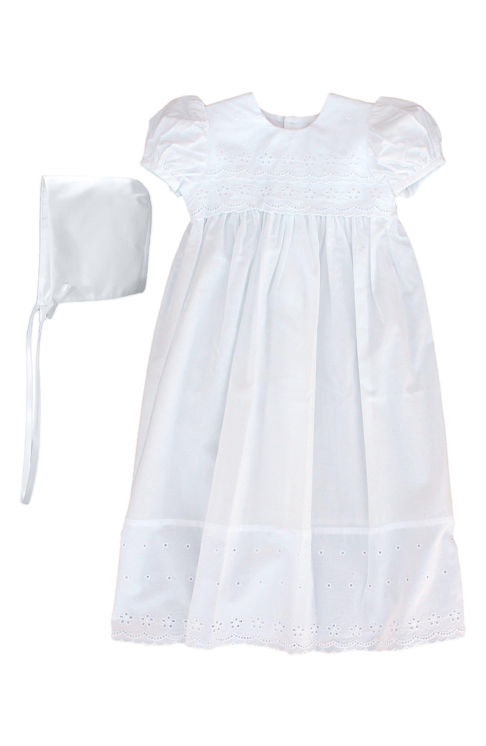 7ebc286f7abb0 Cotton Eyelet Christening Gown